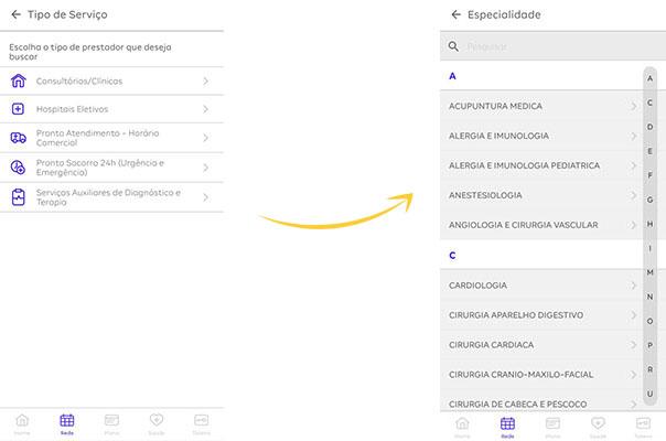 App Amil Cliente busca rede credenciada passo 2