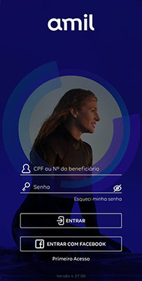 App Amil Cliente busca rede credenciada passo 1